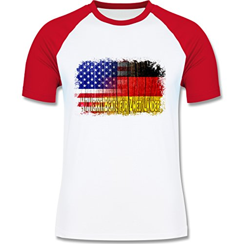 Flaggen - Deutsch-amerikanische Flagge - L140 Männer Raglan Baseball Shirt Weiß/Rot