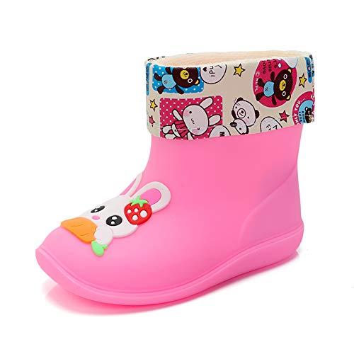 CX ECO Kinder Gelee Regen Schuhe Jungen Mädchen Manschette Stiefel Wasserdichte Regen Stiefel Gummi Funktionale Atmungsaktiv Warm Halten Leichte Wellingtons-Regenstiefel,Pink,24EUR