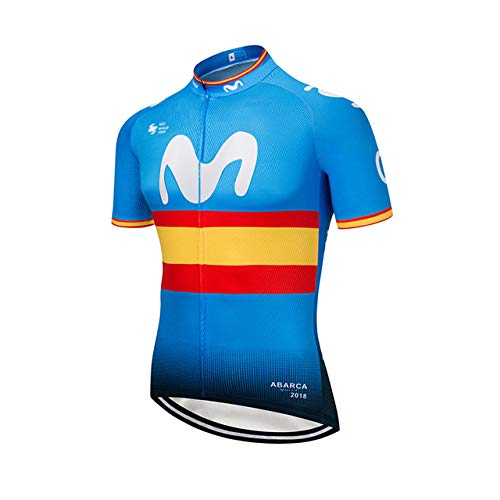 SUHINFE Maillot Ciclismo con Banda Elástica, 3 Bolsillos Traseros, Malla Transpirable y Cremallera Completa, M-BRY, S