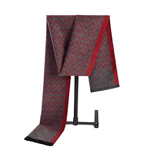 Junjiagao Mischungs-Farben-weicher Schal der Männer Bequeme Schal-Kleidung Accosseries passend für Formale Gelegenheit (Farbe : Red+Grey)