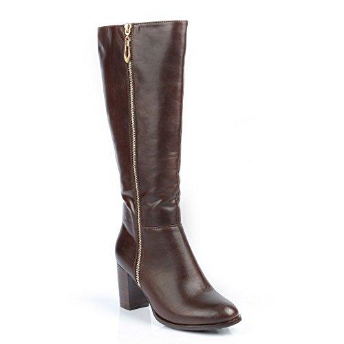 Ideal-Shoes Stiefel CLASSIC verziert mit einem Reißverschluss métalisée Lavinia Braun - braun