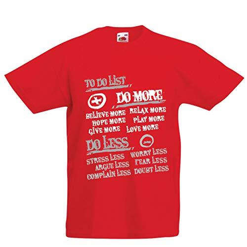 lepni.me Kinder Jungen/Mädchen T-Shirt Liste zu tun - mehr tun und weniger, glückliches Leben Zitate (7-8 Years Rot Mehrfarben) Sonic Ringer