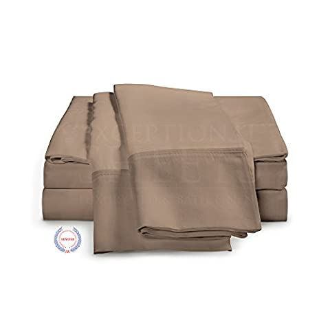 4-Piece Ultra Soft Rayon from Bamboo Bed Sheets by ExceptionalSheets, Double, Taupe