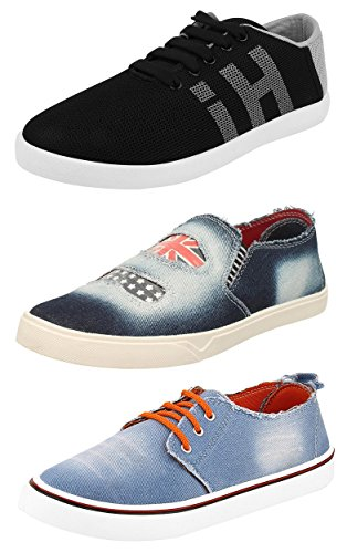 Chevit Men's Combo Pack of 3 Denim Loafers, Sneakers (Casual Shoes) TR-121+124+112-9