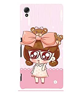 Cute Girl with big specs 3D Hard Polycarbonate Designer Back Case Cover for Sony Xperia Z4