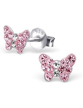 GH1a ROSA Mini Kristall Schmetterling Ohrstecker 925 Echt Silber Ohrringe Mädchen Kinder Geschenkidee