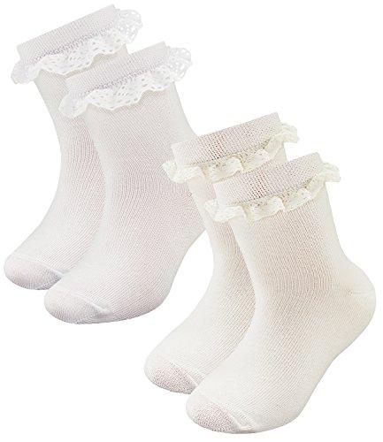 EveryKid Ewers 2er Pack Babysöckchen Mädchensöckchen Sparpack Söckchen Socken Strümpfe mit Spitze für Babys (EW-20158-S17-BM0-901-902-23/26) in Weiß-Latte, Größe 23/26 inkl Fashionguide