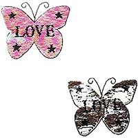 Haodou Mariposa Rosa Amor Cambio Reversible Color Lentejuelas Coser En Parches para La Ropa DIY Parches Suéter Capa de La Ropa Artesanía