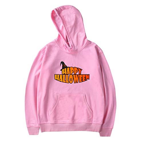 Xmiral Kapuzenpullover Herren Damen Happy Halloween Buchstabe Gedruckte Paare Sweatshirt mit Kapuze Hoodie Pullover Party Langarmshirt Kostüm(b - Regendicht Kostüm