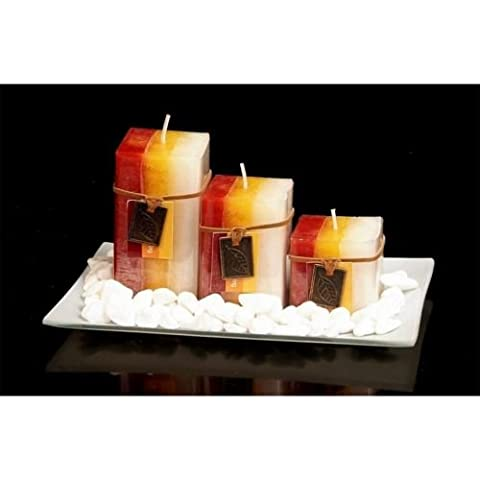 NEW GIFT SET WITH 3 SCENTED AROMATIC MOOD WAX CANDLES GLASS PLATE STONES CANDLE (MANDARINE CRANBERRY)