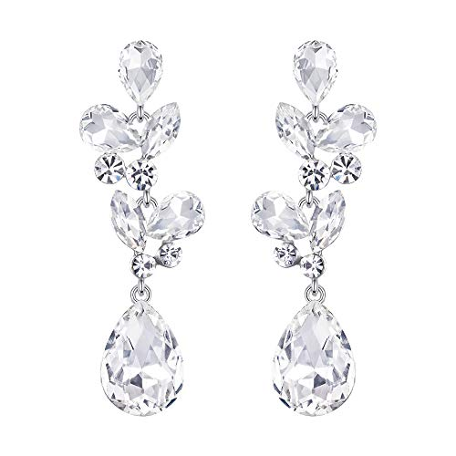 EVER FAITH Austrian Crystal Wedding Floral Leaf Teardrop Pierced Chandelier Earrings Clear Silver-Tone For Brides