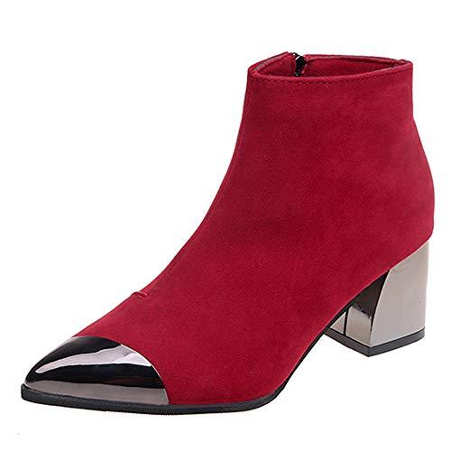 Botas Martin para Mujer Moda Invierno ZARLLE Moda Mujeres punta estrecha Suede Zapatos de cuña de tacón Martin Boots Bota de cremallera Botas de moto Zapatos interiores