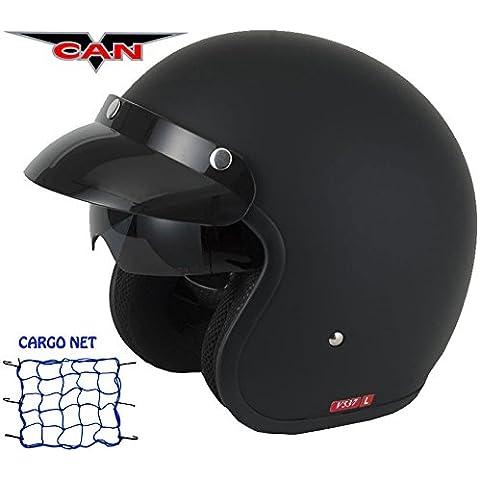 VCAN v537Cara Abierta Moto Touring Visera interior de vintage Plain Verano Viaje Mod casco negro mate y Red de Carga
