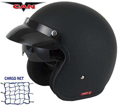 VCAN V537Open Face Motorrad Roller Touring Vintage Innenvisier Uni Sommer Trip Mod Helm matt schwarz und Cargo Net - Motorrad Lazer Helm
