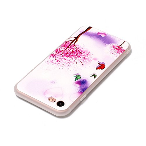 AllDo Custodia in Silicone per iPhone 6/6S Cover Gomma TPU Custodia Protettiva Transparent Clear Case Bumper Cover Morbida Flessibile Custodia Gel Traslucido Caso Liscio Leggero Cassa Ultra Sottile Cu Albero Rosa