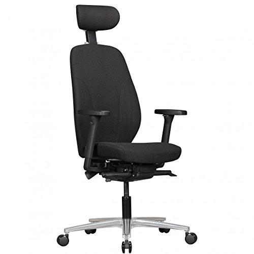 AMSTYLE Bürostuhl OSKAR mit Stoff-Bezug & Kopfstütze in Schwarz   Design Chef-Sessel mit Synchromechanik & verstellbaren Armlehnen   Schreibtisch-Stuhl Drehstuhl ergonomisch 120 kg