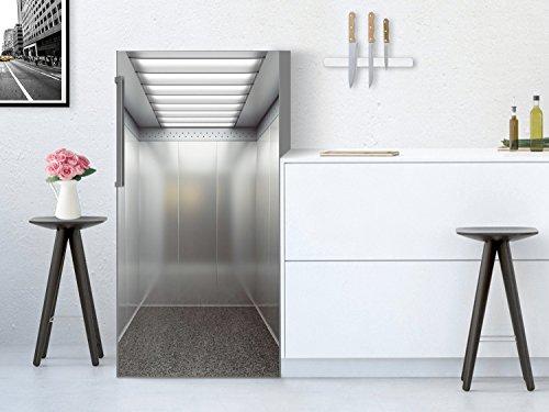 Kühlschrank 60x120 cm Kühlschrankposter XXL Küchen   Dekor Kühlschrank Sticker Aufkleber Klebefolie abwaschbar Kühlschrank renovieren   Design Motiv Elevator