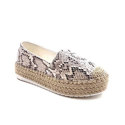 Angkorly - Damen Schuhe Espadrilles Mokassin - Slip-On - Plateauschuhe - Python-Schlangenprint - mit Stroh Keilabsatz high Heel 4.5 cm - Weiß YT196 T 40 Python Slip-on