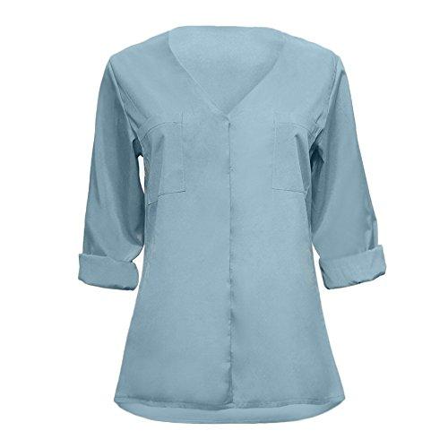 (BHYDRY Frauen Herbst Casual Langarm V-Ausschnitt Solid Taschen T-Shirts Tops Bluse(Small,Blau))