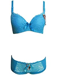 Ensemble soutien gorge push up et culotte , bleu turquoise