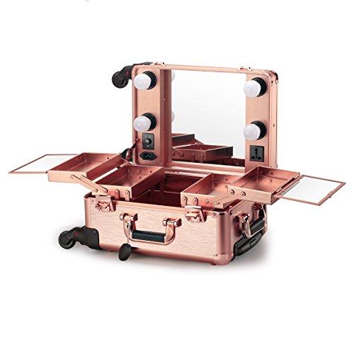 Rädern Haartrockner Auf (Ovonni Kosmetikkoffer Makeup Train Case Mit LED Spiegel 4 Abnehmbare Räder Abschließbar Professional Artist Salon Studio Multifunktionen Rose-Gold)