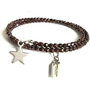 Armband gewickelt zierlich, filigran 3mm Glasperlen braun auf Memorywire mit Anhänger Stern