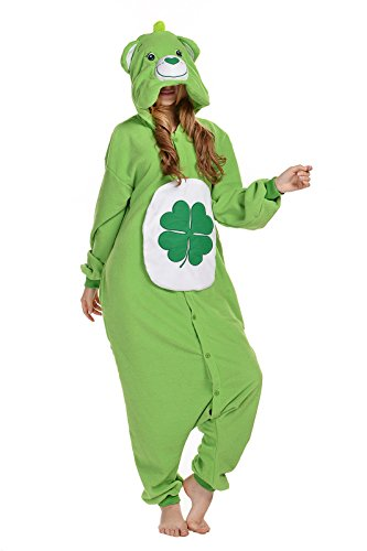 Bear Polar Kostüm Pyjama - Canasour Pyjamas Kostüm Jumpsuit Tier Schlafanzug Erwachsene Unisex Fasching Cosplay Karneval (M, Green Bear)