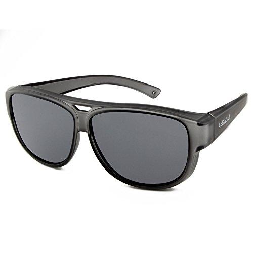 ActiveSol Design ÜBERZIEH-SONNENBRILLE | Flieger Brille | Sonnen-Überbrille UV400 Schutz | polarisiert | 24 Gramm (Grey)