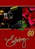 Einladungskarten 60. Geburtstag Frau Mann mit Innentext Motiv Rotwein 10 Klappkarten DIN A6 im Hochformat mit weißen Umschlägen im Set Geburtstagskarten Einladung 60 Geburtstag Mann Frau K145
