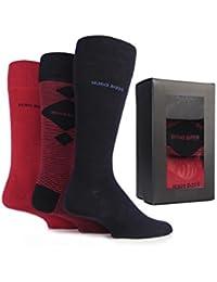 Hugo Boss Mens 3 paires de boîte-cadeau ordinaire, Argyle et chaussettes rayées