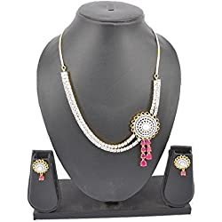 Premsons Indian Style Diamond Necklace & Earrings Set Studded With Pink Stones For Women Ad & Gold Plated Ornament