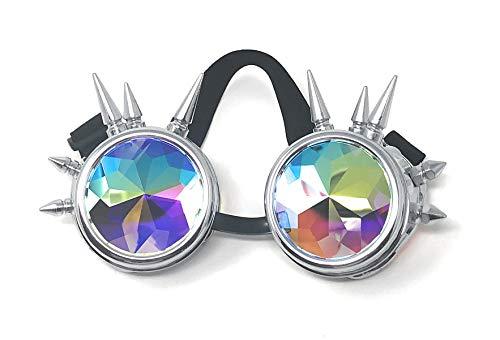 Silber mit Kaleidoskoplinsenspitze Premium Qualität Steampunk Brille Cyber Brille Viktorianischen Punk Stil Schweißen Cosplay Gothic Goth Rustikale Rivet Vintage Runde Rave Neuheit