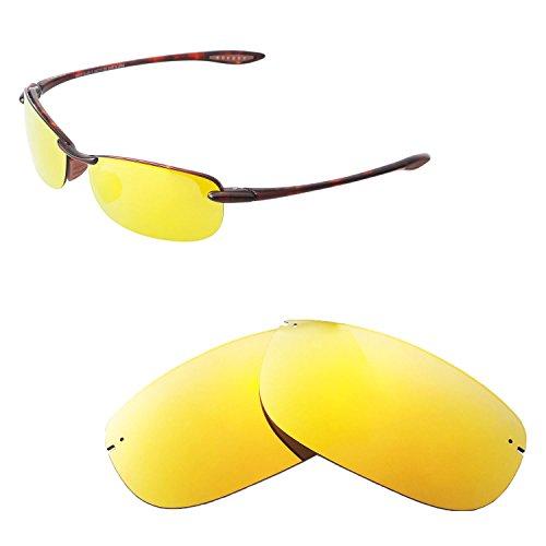 Walleva Ersatz-Objektive für Maui Jim Makaha Sonnenbrille, unisex, 24K Gold - Polarized