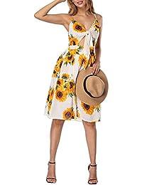 Lover-Beauty Vestido Mujer Casual Manga Larga Top Ajustado Cuello V Falda Cintura Alta Midi Dress Color Puro Fiesta y Boda Botón en Top