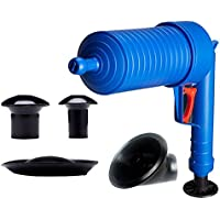 Mazhar Drenaje de Aire a Alta presión Blaster Cleaner ABS Plástico Tubería Inodoros Draga Tuberías y desagües obstruidos con 4 adaptadores - Azul