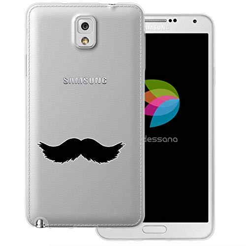 (dessana Mustache Transparente Schutzhülle Handy Case Cover Tasche für Samsung Galaxy Note 3 Walross Bart)