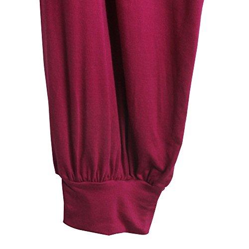Sidiou Group neue Harem Hosen für Frauen, Hosen zu Tanzen, Yoga und Faulenzen--Superweich Dunkelrot
