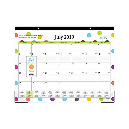 Blue Sky 2019-2020 Schreibtischunterlage für akademische Lehrer, Monatskalender, linierte Blöcke, 55,9 x 43,2 cm, Punkte -