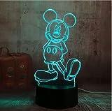 Cartoon Nette Mickey Mouse 3D Led Nachtlicht Illusion Neuheit Tisch Schreibtischlampe Geburtstag Weihnachtsgeschenk Für Kind Kinder Wohnkultur