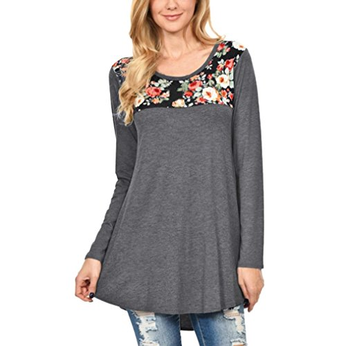 KaloryWee Women Floral Printed Patchwork Long Sleeve O Neck T-Shirt Casual Blouse Tunic Tops