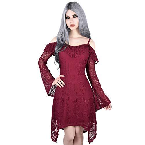 Killstar Spitze Kleid - Deadly Beloved Weinrot L - Victorian Gothic Black Lace