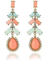 Bold N Elegant Peach & Blue Long Stylish Hanging Crystal Leaf Dangle Drop Earrings Multicolor Rhinestone Chandelier...