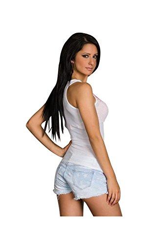 Mela Proibita - Sexi top maglia strass canotta casual donna sexy trendy maglietta canottiera hot Bianco
