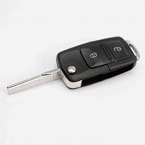 darpy (TM) 2botones remoto flip plegable auto clave carcasa de repuesto Llave del coche carcasa para VW Volkswagen Golf MK4Bora (2botones, incluye caliente venta