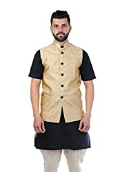 Veera Paridhaan Printed Beige Party wear Nehru Jacket(VP00704540)