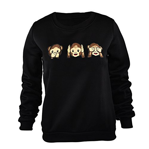 emoji sweatshirt Stilvolle Affe Drucken Pullover Funky Emoji Pullover Sweatshirt Für Frauen L