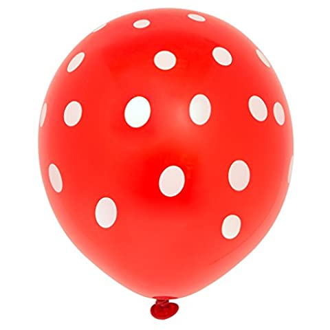 Unique Party - 57592 - Paquet de 6 Ballons - Latex à Pois - 30 cm - Rouge
