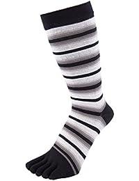 TOETOE chaussettes a doigt basiques mi mollet à bandes fines noires
