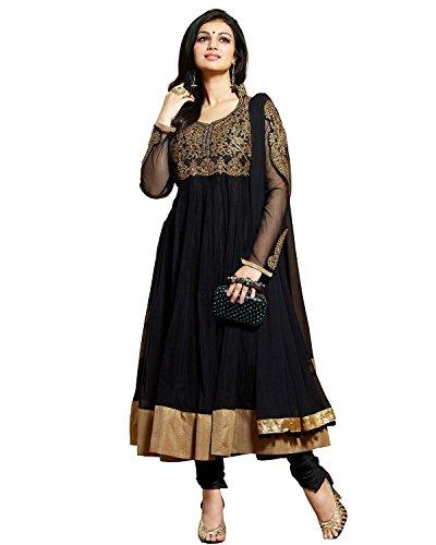 Sky Global Women's Black Georgette Anarkali Unstitched Salwar Suit Dress Material (Dress_108_FreeSize_Black)