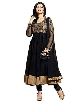 Clickedia Womens Net Anarkali Dress Material (Ayesha Takia Black _Black _Free Size)